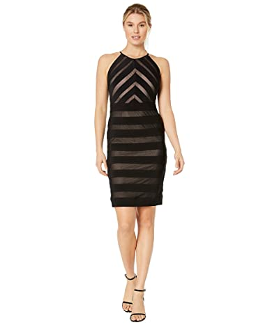 Adrianna Papell Mitered Banded Jersey Dress (Black/Pale Pink) Women