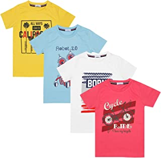 Luke and Lilly Boys Cotton Half Sleeve Tshirt - Pack of 4 (Multicoloured)