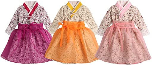 PAUBOLI Baby Girl Korean Clothes Korean Hanbok Long Sleeve Dress