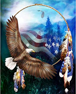 MXJSUA DIY 5D Diamond Painting Full Round Drill Kits Rhinestone Picture Art Craft for Home Wall Decor 12X16In American Flag Eagle Dream Catcher