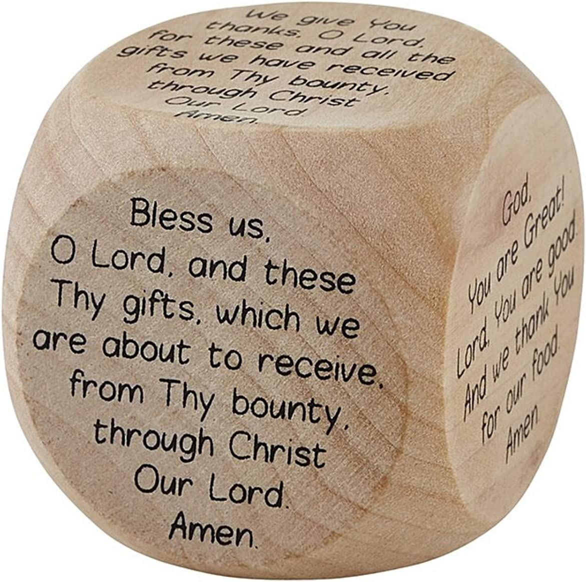 Children's Mealtime Prayer Cube for Learning with Family to Pray, Small Wooden Die Includes 6 Different Prayers, 1 5/8 Inches