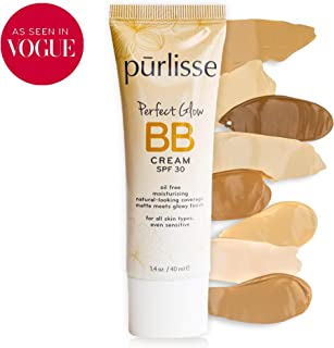 purlisse BB Tinted Moisturizer Cream SPF 30 - BB Cream for All Skin Types - Smooths Skin Texture, Evens Skin Tone - Medium, 1.4 Ounce