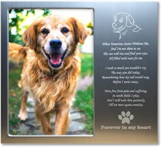 JOEZITON Pet Memorial Personalized 4x6 Picture Frame Gift (More Choices) for Loss of Dogs or Cats.
