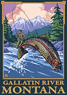 Gallatin River, Montana - Fly Fishing Scene (16x24 Giclee Gallery Print, Wall Decor Travel Poster)
