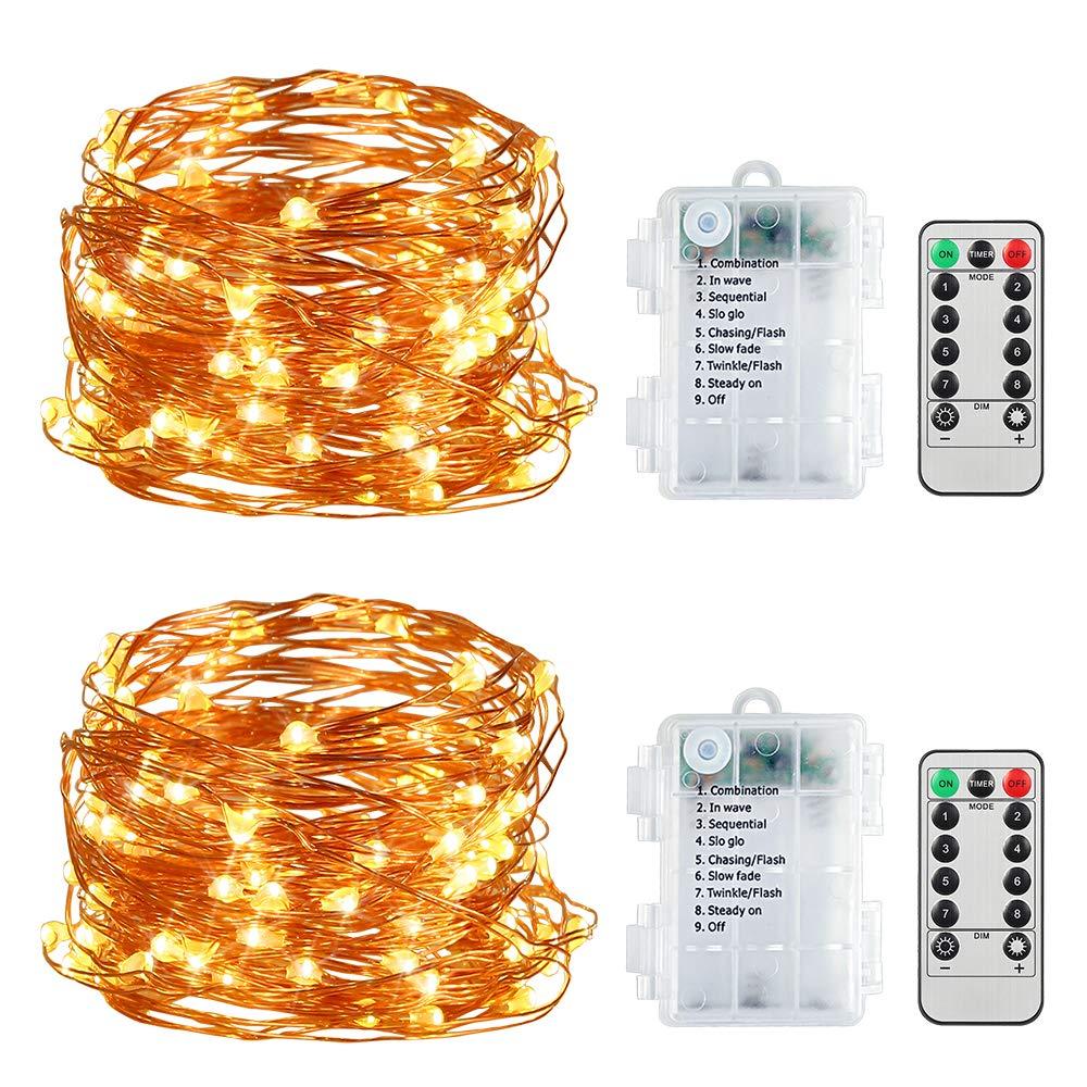 Cadena de Luces,5M 50 LEDs Luces de Cadena LED 8 Modos Luces con control remoto para Impermeable Decorativas Navidad, Jardín,Wedding,Fiesta de cumpleaños [2 Pack]: Amazon.es: Hogar