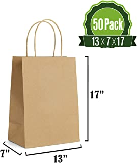 Brown Kraft Paper Gift Bags Bulk with Handles 13 X 7 X 17 [50Pc]. Ideal for Shopping, Packaging, Retail, Party, Craft, Gifts, Wedding, Recycled, Business, Goody and Merchandise Bag
