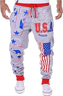 Dorathy Men American Flag Joggers Gym Sweatpants Jogging Sports Fitness Pants