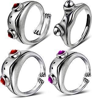 Hicarer 4 Pieces Frog Ring Frog Open Rings Set for Women Girls, Silver Frog Open Rings, Vintage Cute Animal Finger Ring Je...