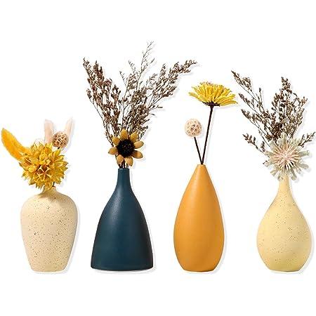 Sziqiqi Petits Vases en Céramique pour Fleurs Ensemble de Vases Décoratifs pour Salon Mini Vases Faits la Main pour Décoration de Pièce Maîtresse Table Vase Moderne avec Couleur Mate Morandi Lot de 4