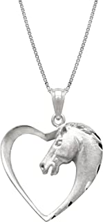 Honolulu Jewelry Company Sterling Silver Horse in Heart Necklace Pendant with 18