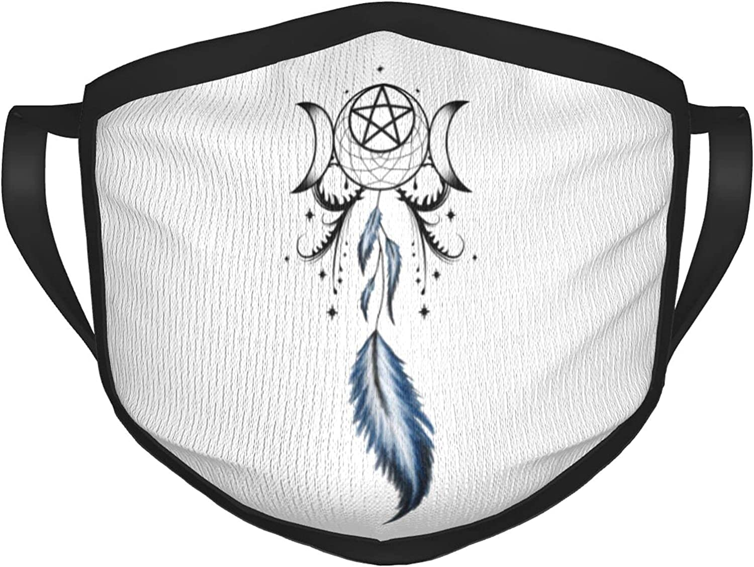 Dreamcatcher Pagan Moon Wicca Wiccan Breathable Adult Mouth Cover Black Border Masks Balaclava Black Reusable with Washable Dustproof Cotton Face Masks