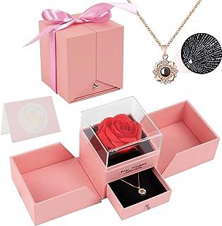 Joyhoop Rose Eternelle, Cadeau Fete des Meres, Rose Artificielle Carte De Vœux Boîte Cadeau, Idee Cadeau Anniversaire pour...