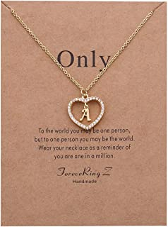 Letter Pendant Necklace A-Z Initial Necklace Message Card Necklace Woman Jewelry
