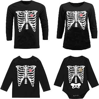 Halloween Skeleton Family Matching Shirts Funny Baby Boys Girls Skull Bodysuit