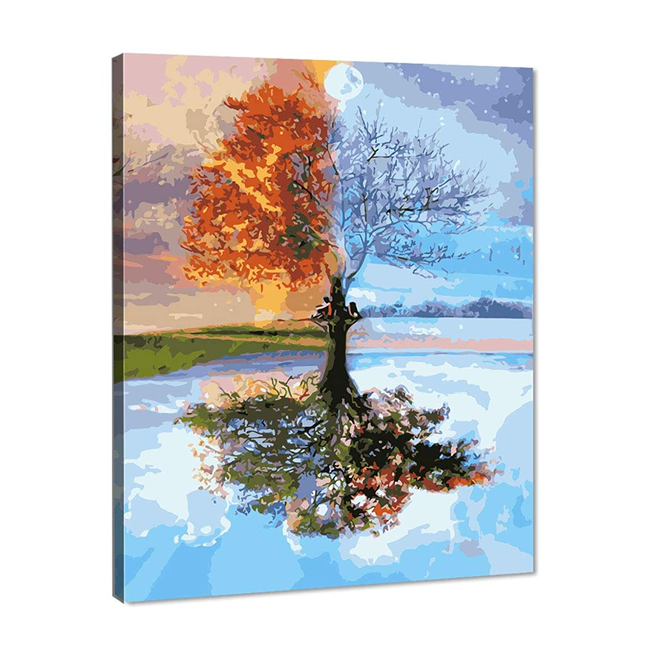 Horseben Art Paint by Number Kits for Adults and Kids DIY Oil Painting on Canvas - Four Seasons Tree Landscape (16x20 Inch,Frameless)