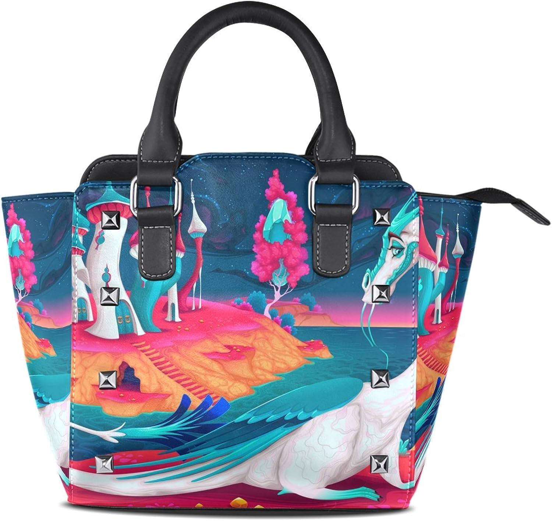 My Little Nest Women's Top Handle Satchel Handbag Fantasy World Cartoon Dragon Ladies PU Leather Shoulder Bag Crossbody Bag
