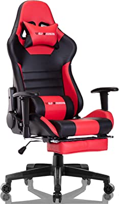 Gaming Chair Ergonomic Reclining Racing Computer Game Chairs High Back PU Leather Gaming Desk Chair Large Size E-Sport Chair with Lumbar Support (Black/Red)