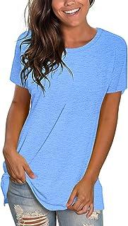 Womens T Shirts Short Sleeve Crewneck Loose Summer Tees...