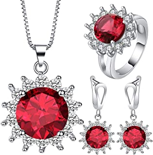 VPbao Cubic Zirconia Plated Silver Chain Necklace Earrings Ring CZ Jewellery Set Red