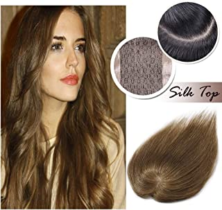 Human Hair Toppers for Women With Thinning Hair Clip in Top Hair Piece Silk Base Top Hairpiece 100% Density Hand-made Crown Hair Extensions for Gray Hair Hair Loss 16inch Light Brown #6