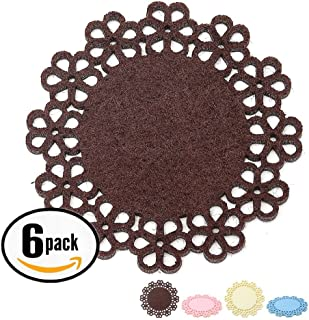Dulce Cocina Set of 6 Large Flores Coasters (Chocolate) - Condensation Absorbent