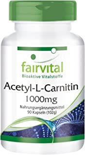 Acetil-L-Carnitina 1000mg - per 3 mesi - VEGAN - alto dosaggio - 90 Capsule - ALC