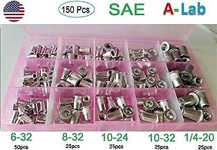 150 pcs Aluminum Rivet Nut Kit Rivnut Nutsert Standard Inch SAE Imperial