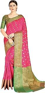 Cotton Shopy Woven Design Kanjivaram Silk Blend Banarasi Sarees with Blouse Piece Pink