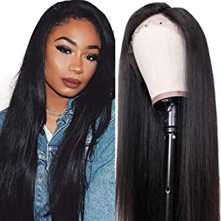 UNice Hair 10A Straight Hair 360 Lace Front Wigs Human Hair, Brazilian Virgin Human Hair Wigs with Baby Hair Natural Black Color 180% Density (18inch)