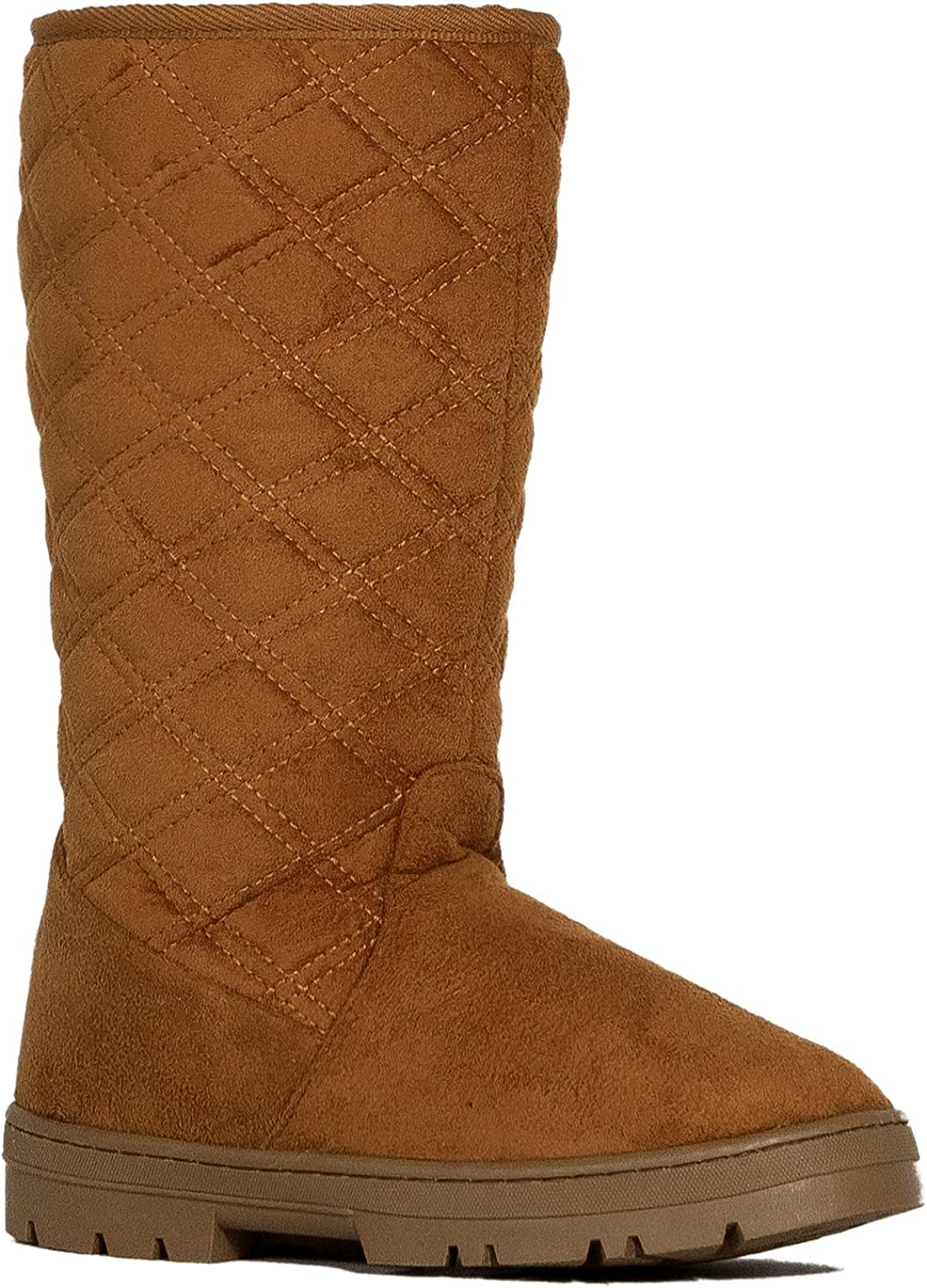 Room Of Fashion Women's Shearling Fur Lined with Quilt Pattern Winter Eskimo Boots