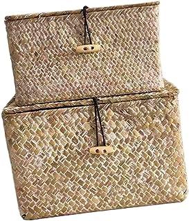 2pcs Seaweed Handwoven Cube Panier de Rangement Boîte avec Couvercle Seagrass Makeup tissé Organisateur Récipient avec Cou...