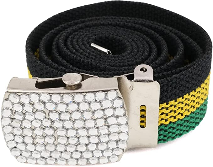 Belt Reggae Rasta Textil Gürtel Stoffgürtel schwarz