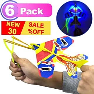 6 Pack Arrow Plane LED Plane DIY Model Arrow Rocket Helicopter Flying Toy+Slingshot+Flame Stickers for Boys Girls Glow in The Dark Birthday Holiday Party Supplies