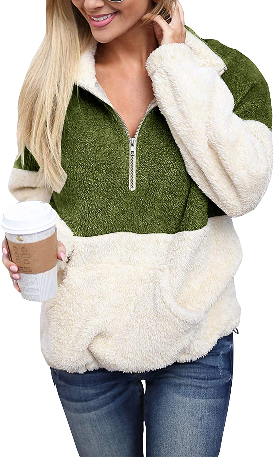 Womens Plus Size Sherpa Pullover Sweatshirts Zip Up Fuzzy Fleece Color Block Tops with Pockets