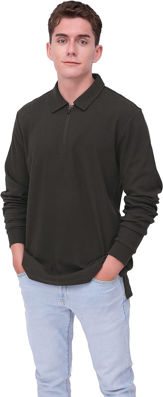 ONLEE Men's Quarter-Zip Long Comfortabl Soft Sleeve Sacramento Mall Genuine Free Shipping Sweatshirts