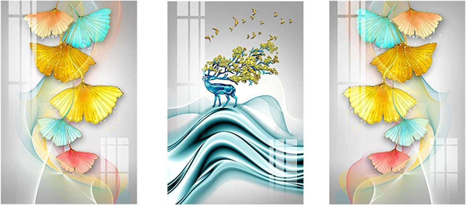 3 Panels SEAL limited product Canvas Ranking TOP14 Art Print Abstract Nordic Tree Elk Poster Landsc