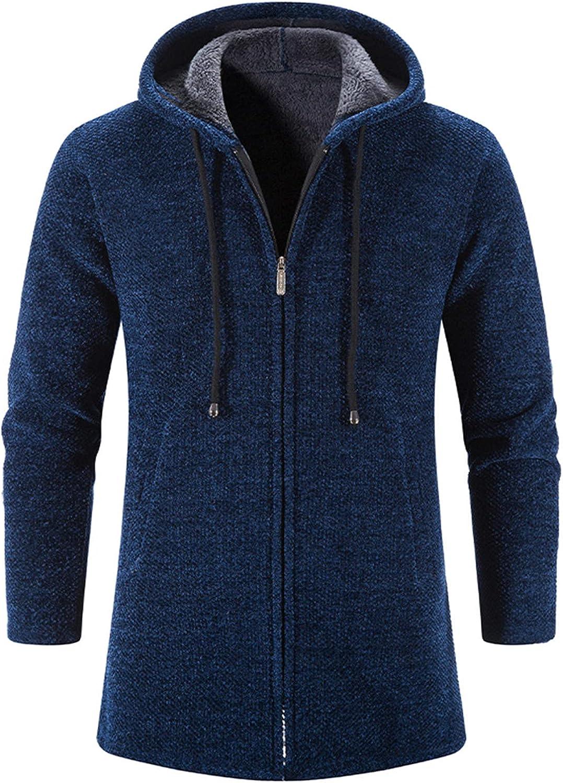 Men's Heavyweight Hooded Cardigan Sweater Oversized Winter Warm Open Front Knit Sweater Trench Coats Jackets