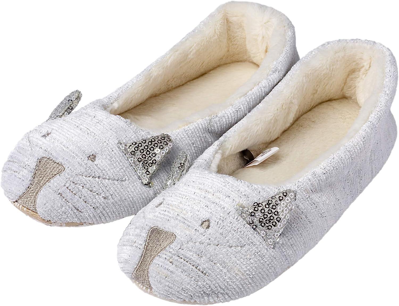 Ladies Enchanting Animal Character Ballet Slip On Slippers