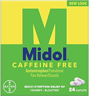 Midol Caffeine Free Menstrual Pain Relief Caplets with Acetaminophen for Menstrual Symptom Relief - 24 Count, Packaging Ma...
