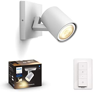 Philips Hue Runner White Ambiance Smart Single Wall Spotlight [GU10 Spot] with Bluetooth, White and Dimmer Switch. Works w...