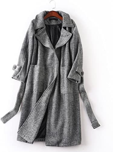 Pugaomsiw Mode Simple et élégant Manteau de Laine d'hiver Genou Long Manteau lache Ceinture Manteau de Laine,S,gris