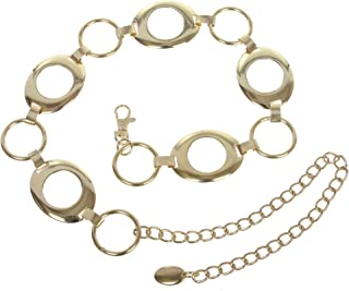 Women's Metal Oval Circle Chain Belt