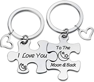 HN HNHB I Love You to The Moon Back Couple Puzzle Keychain Women Girls Boys Gift Wedding Valentines Puzzle Jewelry Gifts