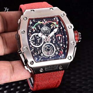 JFfactory - JFfactory Nuevo Reloj Negro de Lona roja para Hombre, Zafiro automático mecánico, Plata, Oro Rosa, Limitado Flyback, Titanio, Acero Inoxidable 904L
