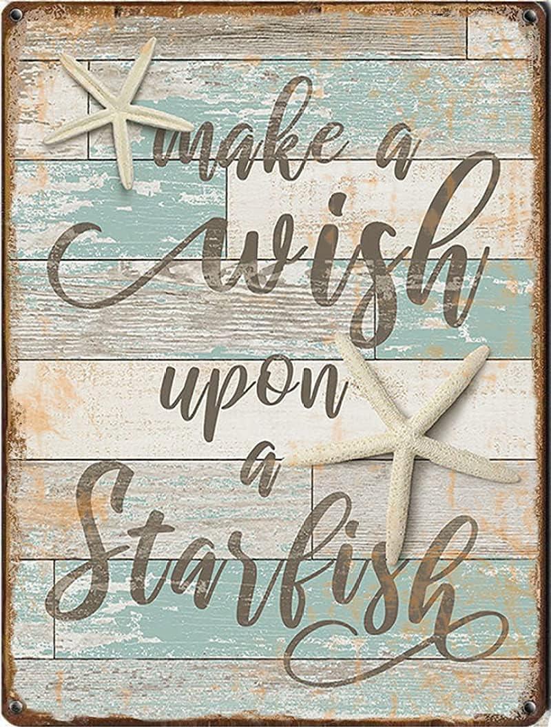 Tin Sign Starfish Wall Decor, Ocean Inspirational Quote Nursery Wall Art, Wish Upon a Starfish, Teal Gray tin Sign,Retro Art, Home bar, Home Decoration, Garage Sign, tin Sign 8x12 inches