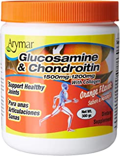 Arymar Glucosamine & Chondroitin Powder 1500mg-1200mg with Collagen Orange Flavor Support Healthy Joints, Orange, Orange, ...