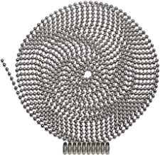 10 Foot Length Ball Chain, Number 3 Size, Nickel Plated Steel, 10 Matching Connectors