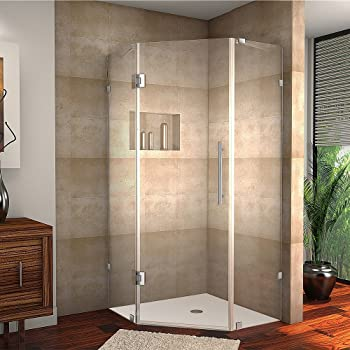 """Aston Neoscape 42"""" x 42"""" x 72"""" Completely Frameless Neo-Angle Shower Enclosure, Brushed Stainless Steel"""