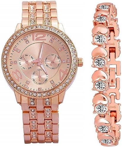 Zuperia Diamond Studded Analogue Watch with Rose Gold Dot Bracelet