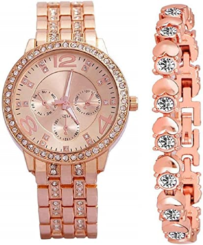 Diamond Studded Analogue Watch with Rose Gold Dot Bracelet